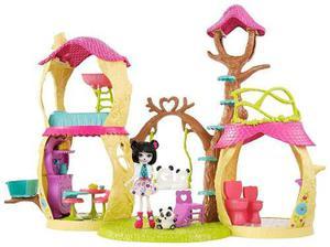 Enchantimals casa del arbol prue panda y nari c/ accesorios