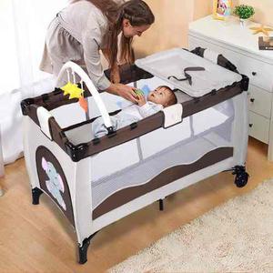Cuna bebe viaje plegable gris *envío sin costo
