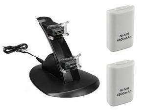 Kit stand base cargador para controles xbox 360 + 2 baterias