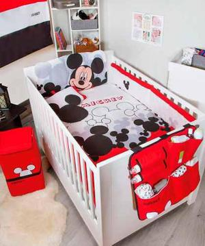 Set de edredon cama cuna corral bebe mickey chiquimundo