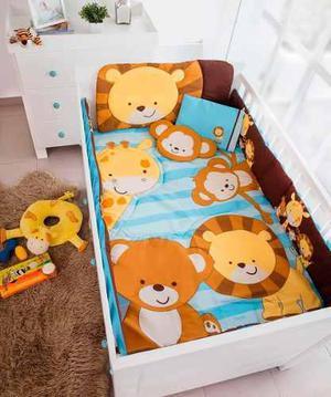 Set edredon cuna cama corral bebe blue safari chiquimundo