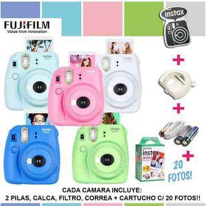 Fujifilm instax mini 9 camara colores cartucho 20 fotos *sk