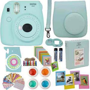 Fujifilm instax mini 9 cámara ice blue más accesorios