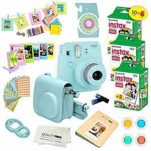 Fujifilm instax mini 9 cámara instantáneo ice blue w fujif
