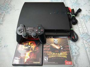 Ps3 slim 160gb con control, juego resident 5 y lucha aaa