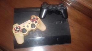 Ps3 slim 500gb + 2 controles + cables originales + 18 juegos