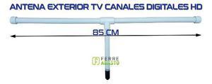 Antena tv tdt hd exterior pvc 75 ohm 85cm alta ganancia