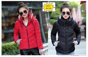 Chamarra de mujer invierno con capucha acolchada impermeable