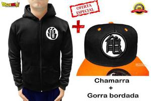 Chamarra grande dragon ball goku hoodie + gorra bordad super