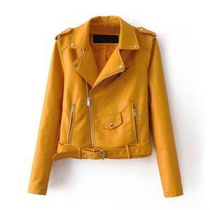 Moda mujeres pu faux cuero chaqueta la capa cremallera cintu