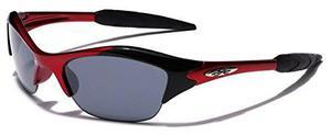 Kids edad 3-12 gafas de sol deportivas mitad marco, rojo hu