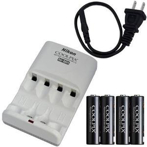 Kit de cargador y 4 baterias aa nikon en-mh2-b4/mh-73 nuevo!