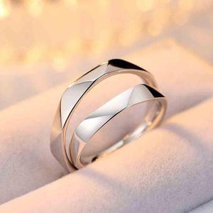 efcc519a2c89 Par anillos duo promesa plata 925 amor parejas entrelazados