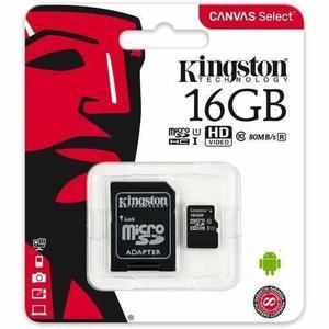4 pz micro sd kingston canvas select, 16gb clase 10 80mb