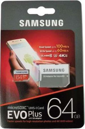 64gb micro sd sdxc samsung evo plus + 4k clase 10 u3