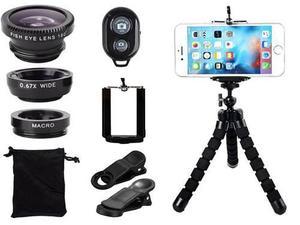 Kit lentes camara iphone celular universal tripod y control