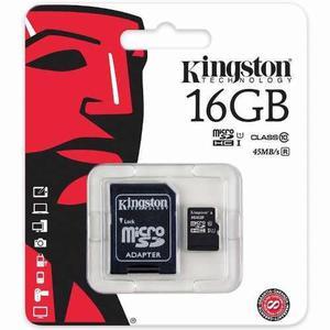 Lote 10 memorias kingston micro clase 10 16gb con adaptador