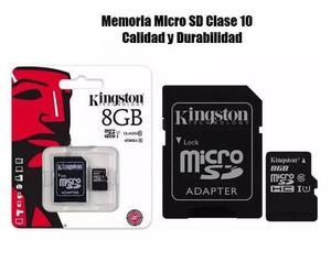 Memoria micro sd 8gb kingston clase 10 de velocidad kingston