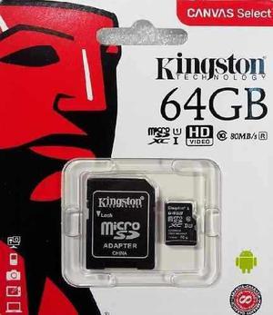 Memoria micro sd hc 64gb kingston cl 10 a 80mb sdcs/64gb