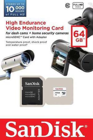 Memoria micro sd sandisk endurance videovigilancia 64gb c10