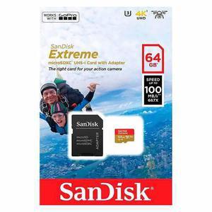 Memoria micro sdxc sandisk extreme 64gb u3 v30 4k c-10 gopro