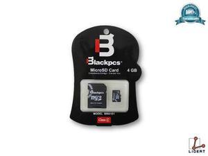 Micro sd 4 gb blackpcs con su adaptador negro class 4