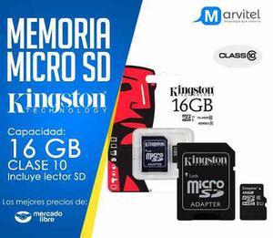 Micro sd kingston 16 gb clase 10 adap sd nueva blister