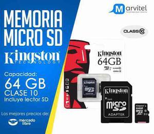 Micro sd kingston 64 gb clase 10 adap sd nueva blister