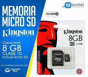 Micro sd kingston 8 gb clase 10 adap sd nueva blister