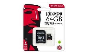 Micro sd kingston canvas select 64gb class 10 adaptador sd