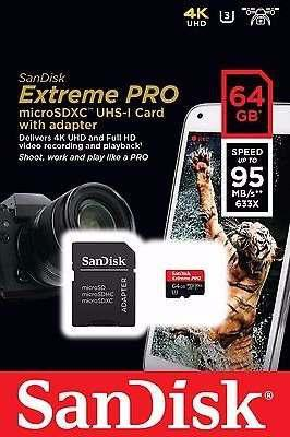 Micro sd sandisk extremepro de 64gb 95mbs sdsqxxg-064g-gn6ma