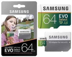 Samsung evo 64gb 100m/s 4k microsd memoria micro sd uhs u3