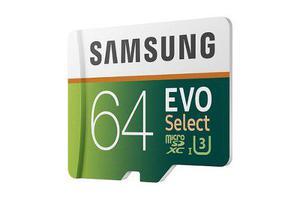 Samsung micro sdxc evo select 64gb drone go pro 4k envio