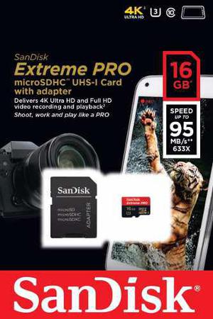 Sandisk Micro Sd 16gb Clase 10 Tarjeta Sd 4k Extreme Pro