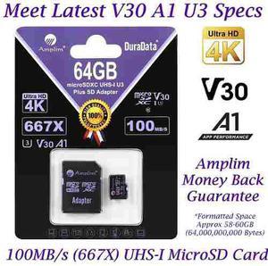 Tarjeta micro sd amplim 64 gb v30 a1 veloz iphone drone