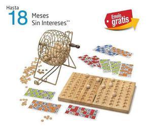 Bingo de lujo tómbola 90 bolas madera juego de mesa