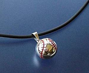 Plata dije de pelota de béisbol + pulsera + collar d caucho