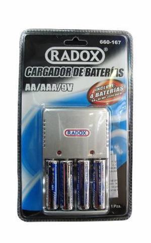 Cargador baterías aa aaa y 9v+4 baterias aa envio gratis