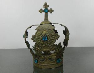 Antigua corona en plata baja para estatua de santo o virgen