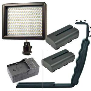 Kit lampara video 160 leds + 2 pilas+cargador+bracket gratis