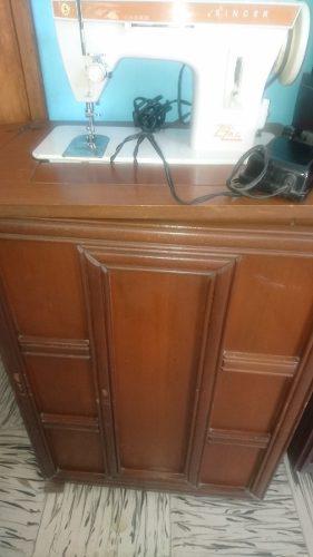 Maquina de coser singer zig zag con mueble madera antigua