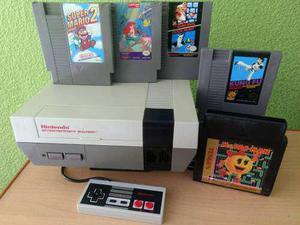 Nintendo nes consola con 5 videojuegos mario