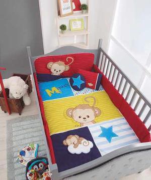 Set edredon cama cuna corral para baby monkey chiquimundo