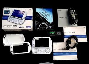 Psp go pearl white con caja. accesorios, juegos, etc