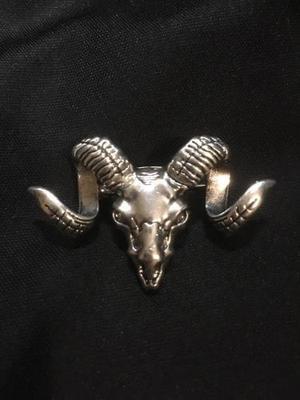 Pin carnero, cráneo con cuernos. baphomet, macho cabrío.