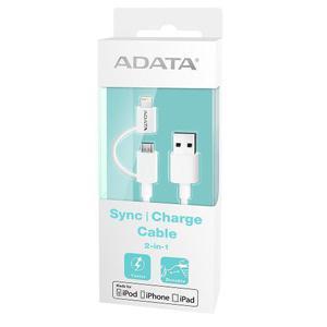 Cable usb 2 in 1 lightning/microusb carga & sync apple adata