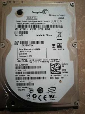 Discos duros sata para laptop 80 gb dañados