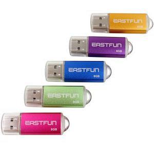 Paquete de 5 memorias flash usb 2.0 eastfun 8gb -5 colores