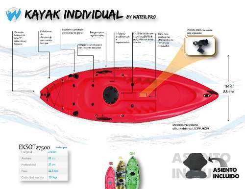 Kayak individual con remo y asiento
