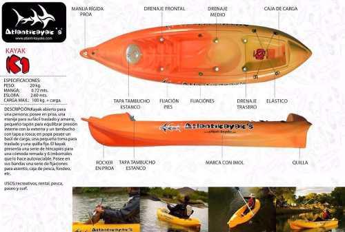 Kayak individual con respaldo y remo